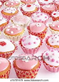Pink And White Cupcakes Or Fairy Cakes Stock Photo