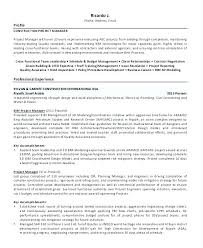 Construction Project Manager Resume Template Free Resumes Objective Samples Templates