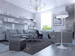 wohnzimmer im modernen stil elegantes wohnzimmer mit weißen wänden und hellgrau laminat wandsystem mit weißen regalen