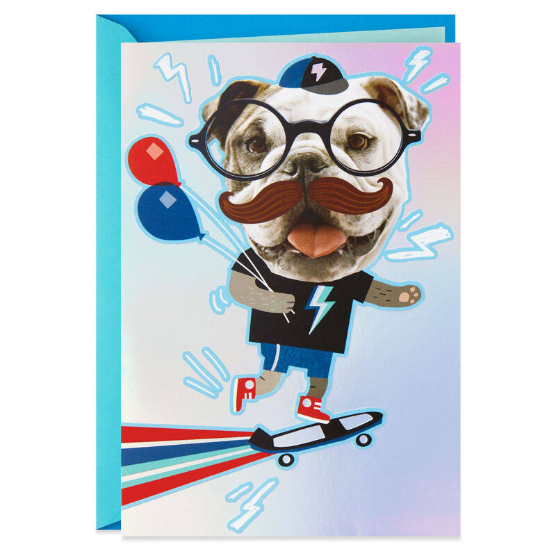 Awesome Mustache Stickers Birthday Card