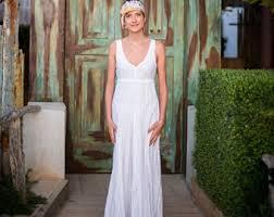White Linen Wedding Dress