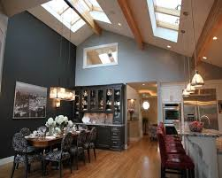 Kitchen Lighting Ideas Vaulted Ceiling With Pendant Lamps And Skylights Also Recessed Lights Full