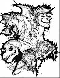 Fabulous Scary Monster Coloring Pages With And Dragon