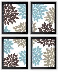 Teal Brown Bathroom Decor by Flower Print Blue Brown Beige Chrysanthemum Flowers Set Of 4