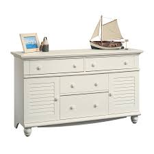 shop sauder harbor view antiqued white 4 drawer dresser at lowes com