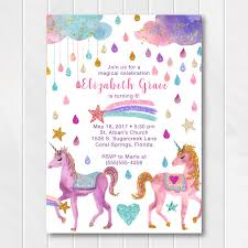 Glitter Unicorn Birthday Invitations