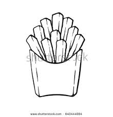 Hand drawn doodle of french fries in a paper pack Unhealthy food