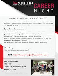 KW Metropolitan Career Night At 5050 Westheimer Rd Houston