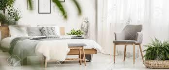 pflanze auf puff und grauem stuhl neben bank und bett im dunklen schlafzimmer mit zeichnung und weißen pelz