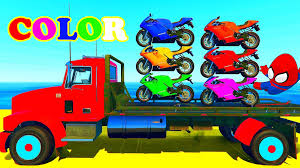 100 Truck Songs COLORS MOTORBIKE ON TRUCK SUPERHERO FOR KIDS WITH NURSERY RHYMES