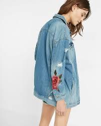 rose embroidery denim boyfriend jacket express