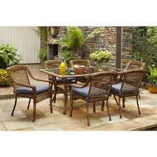 Hampton Bay Patio Chair Replacement Cushions by Hampton Bay Spring Haven Brown 7 Piece All Weather Wicker Patio
