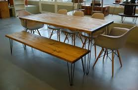 Industrial Scaffold Board Dining Table Bench And Five Eames Chairs