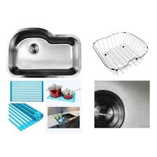Overstock Stainless Steel Kitchen Sinks by Ariel Pearl Sharp Satin 31 5 Inch Premium 16 Gauge Stainless Steel