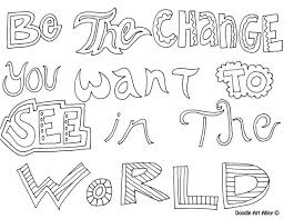 Be The Change You Want To See In World Free Coloring Page
