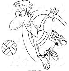 Vector Of A Cartoon Male Volleyball Player Hitting Ball Coloring Page Outline Girl Playing Pages Holidays