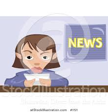 Vector Illustration Of A Female News Reporter Making Announcement