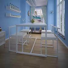 essgruppe tisch 4 stühle 5 tlg weiß