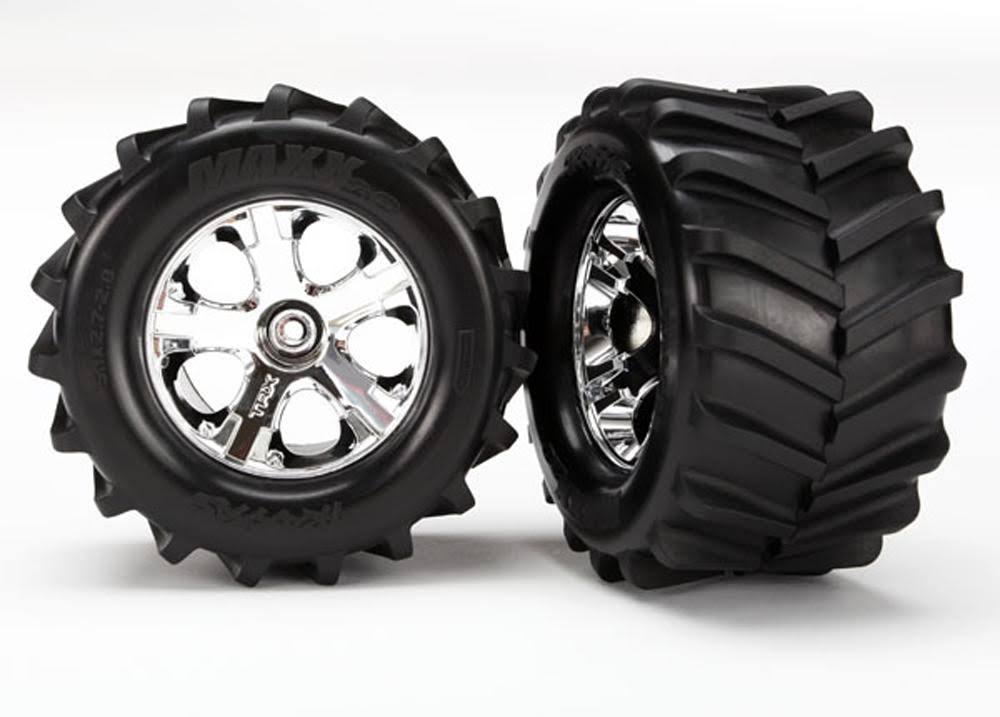 Traxxas 6771 Maxx All-star Tires Wheels - 2.8, Chrome, St4x4