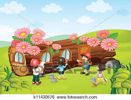 Clip Art Of Kids Painting Wooden House K11430576