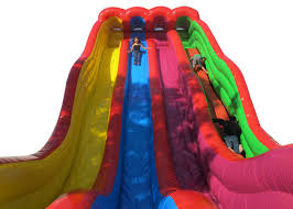 Funny Outdoor Water Slides Colorful Blow Up Pool Slides For
