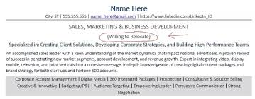 How To Mention Relocation In Resume