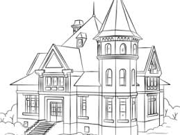 Houses Coloring Pages Victorian House Page Free Printable