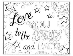Adult Coloring Page Digital Download Love You To The Moon And Back DIY Art