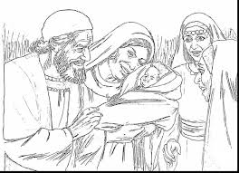 Magnificent Elizabeth And Zechariah Coloring Page With John The Baptist Baby