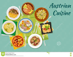 cuisine autrichienne icône plate de cuisine autrichienne avec des plats de viande