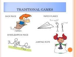 1 TRADITIONAL GAMES SACK RACE PAPER PLANES WHEELBARROW RACE JUMPING ROPE