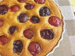 Rustic Plum Topped Cornmeal Breakfast Cake