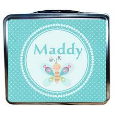 Butterfly And Blue Dots Personalized Girls Lunchbox