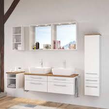 weißes bad set mit doppelwaschtisch enwicos i 6 teilig