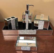 Bella Lux Mirror Rhinestone Bathroom Accessories by Rhinestone Bathroom Accessories Bella Lux Mirrored Rhinestone