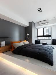 led beleuchtung im modernen schlafzimmer grau und weiß in