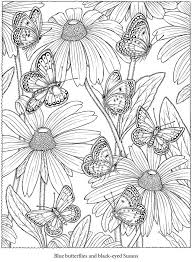 Blue Butterfly Black Eyed Susan Flowers Coloring Pages Colouring Adult Detailed Advanced Printable Kleuren Voor Volwassenen Welcome To Dover Publications