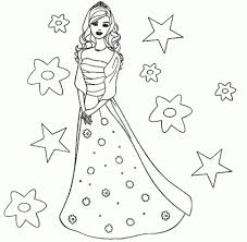 Coloring PageCute Barbie Drawing Pics Doll Colour Free Wallpaper Page