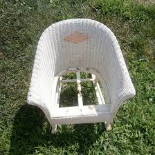 Child's Vintage White Wicker Rocking Chair From The | Etsy ...