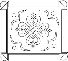 Beautiful Hearts Rangoli Designs Coloring Pages