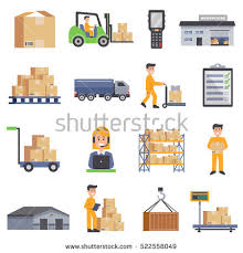 Warehouse Isolated Flat Icons Set Of Delivery Truck Shelves With Goods Scales Boxes Container And Storage