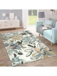 paco home designer teppich modern wohnzimmer blumen muster pastell töne in grün blau creme klingel