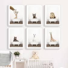 baby tier badewanne poster giraffe elefant panda leinwand