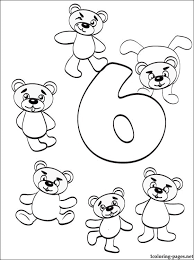 Number 6 Six Coloring Page