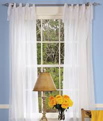 cotton voile tie tab top curtains i could do these on the 4 poster