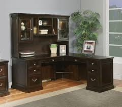 Computer Desk L Shaped Glass by Furniture Dark Brown Wooden Cimpuyter Table With Hutch And