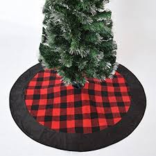 Gireshome 42quot Buffalo Check Plaid Christmas Tree Skirt Black Suede Border Xmas Decoration Merry