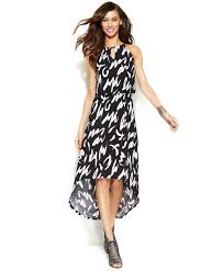 inc international concepts halter scribble print high low dress in