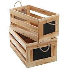 Natural Wood Finish Nesting Boxes Multipurpose Storage Crates W Erasable Chalkboard Signs Set