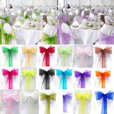 CL✿✿ 10PCS Organza Chair Cover Sash Bows Wedding Party Back Tie Ribbon  Solid Color